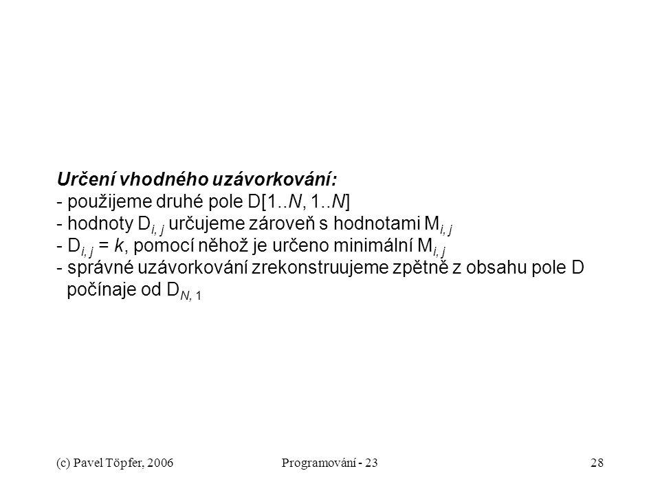 Určení vhodného uzávorkování: - použijeme druhé pole D[1. N, 1